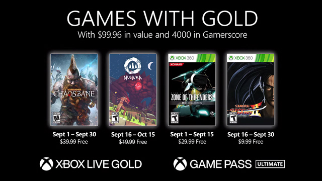 Xbox Games With Gold September 2021